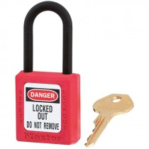 "Dielectric Safety Lockout Padlock, 1-1/2"" Shackle, Red, Keyed Differently"