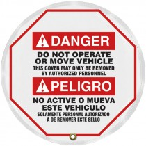 """24"""" Diameter Steering Wheel Cover, Bilingual, Danger Do Not Operate or Move Vehicle"""