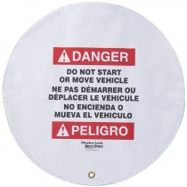 "20"" Diameter Steering Wheel Cover, Bilingual, Danger Do Not Start or Move Vehicle"