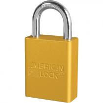 "Aluminum Safety Lockout Padlock, 1"" Shackle, Yellow, Keyed Different"