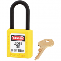 "Dielectric Safety Lockout Padlock, 1-1/2"" Shackle, Yellow, Keyed Differently"