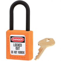 "Dielectric Safety Lockout Padlock, 1-1/2"" Shackle, Orange, Keyed Differently"