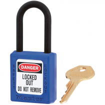 "Dielectric Safety Lockout Padlock, 1-1/2"" Shackle, Blue, Keyed Differently"