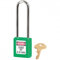 "Safety Lockout Padlock, 3"" Shackle, Green, Keyed Different"