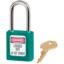 """Safety Lockout Padlock, 1-1/2"""" Shackle, Teal, Keyed Differently"""