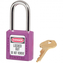 "Safety Lockout Padlock, 1-1/2"" Shackle, Purple, Keyed Differently"