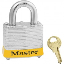 """Steel Safety Padlock,3/4"""" Shackle,Yellow Bumper, Keyed Different"""