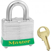 """Steel Safety Padlock,3/4"""" Shackle,Green Bumper, Keyed Different"""