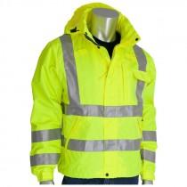 Class 3 Hi-Vis Rain Jacket, 2-XL