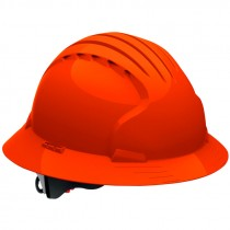 JSP® Pre-Assembled Full Brim Wheel Ratchet Hard Hat, Orange