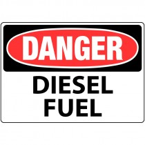 "7"" x 10"" Rigid Plastic Danger Diesel Fuel Sign"