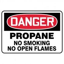 "7"" x 10"" Danger Propane No Snoking No Open Flames Sign"