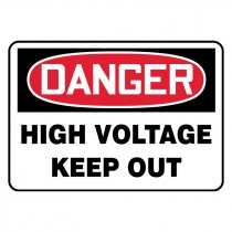 "7"" x 10"" Danger High Voltage Keep Out Sign"