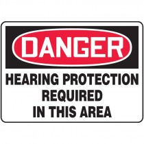 """7"""" x 10"""" Danger Hearing protection Required in this Area"""