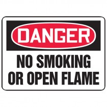 """7"""" x 10"""" Danger No Smoking or Open Flame Sign"""