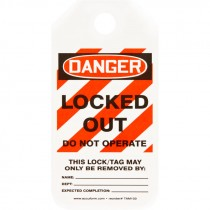 "2"" x 4""  Equipment Lockout Tag - Danger Locked Out Do Not Operate - 25 Pack"