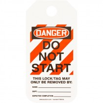 "2"" x 4""  Equipment Lockout Tag - Danger Do Not Start - 25 Pack"