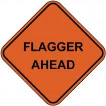 "48"" Mesh Rollup Sign, Non-Reflective - Flagger Ahead"