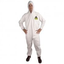 Defender™ Microporous Coverall with Hood, Zipper, Elastic Hood, Wrists & Ankles, No Boots, Medium