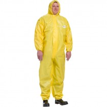 Yellow Chemical Barrier Coveralls, Elastic Wrist & Ankle with Hood, Large