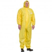 Yellow Chemical Barrier Coveralls, Elastic Wrist & Ankle with Hood, 2-XL