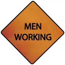 "48"" Rollup Sign, Marathon Reflective  - Men Working"