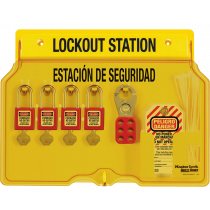 4-Lock Padlock Station, English/Spanish, with Zenex™ Thermoplastic Padlocks