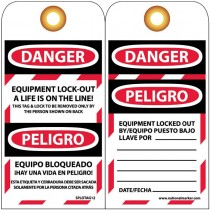 "6"" x 3"" Bilingual English/Spanish Equipment Lockout Tags , Unrippable Vinyl"