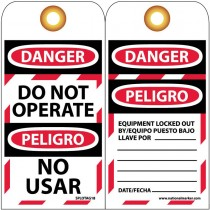 "6"" x 3"" Bilingual English/Spanish Do Not Operate Lockout Tags, Unrippable Vinyl"
