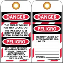 "6"" x 3"" Bilingual English/Spanish This Energy Source Has Been Locked Out, Unrippable Vinyl"