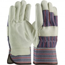 1563-L  TOP GRAIN LEATHER PALM/CNVS BKWORK GLOVES  LG