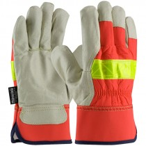 125-458-L Large Hi-Vis Top Grain Leather Palm Glove with Rubberized Cuff