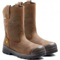 Harrier Pull-On Work Boot, Composite Toe, Puncture Reisistant Sole, Brown, Men's Size 13