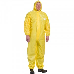 Yellow Chemical Barrier Coveralls, Elastic Wrist & Ankle with Hood, Medium