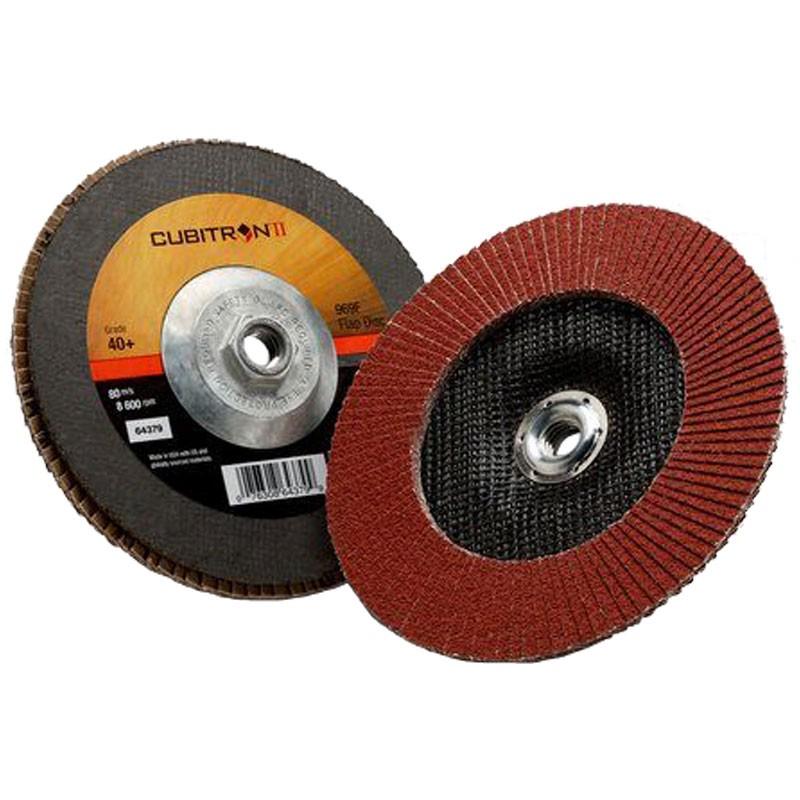 "3M™ Cubitron™ II 969F 7"" X 5/8"" - 11"" 40+ Grit Type 27 Flap Disc"