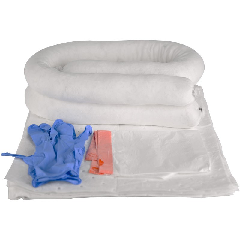 HUB Oil Only Spill Kit # 4 (20) Pads, (2) Socks, Disposable Gloves, & Disposal Bag