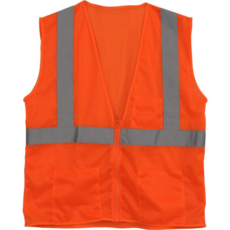 Class 2 Safety Vest - Orange Mesh, 4-XL
