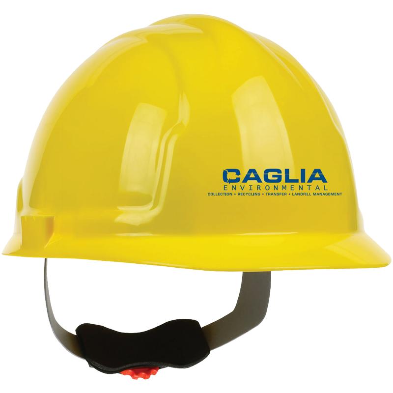 4200 YELLOW HARD HAT W/4-PT RATCHET SUSPENSION  W/ CAGLIA LOGO (1C - 1L)