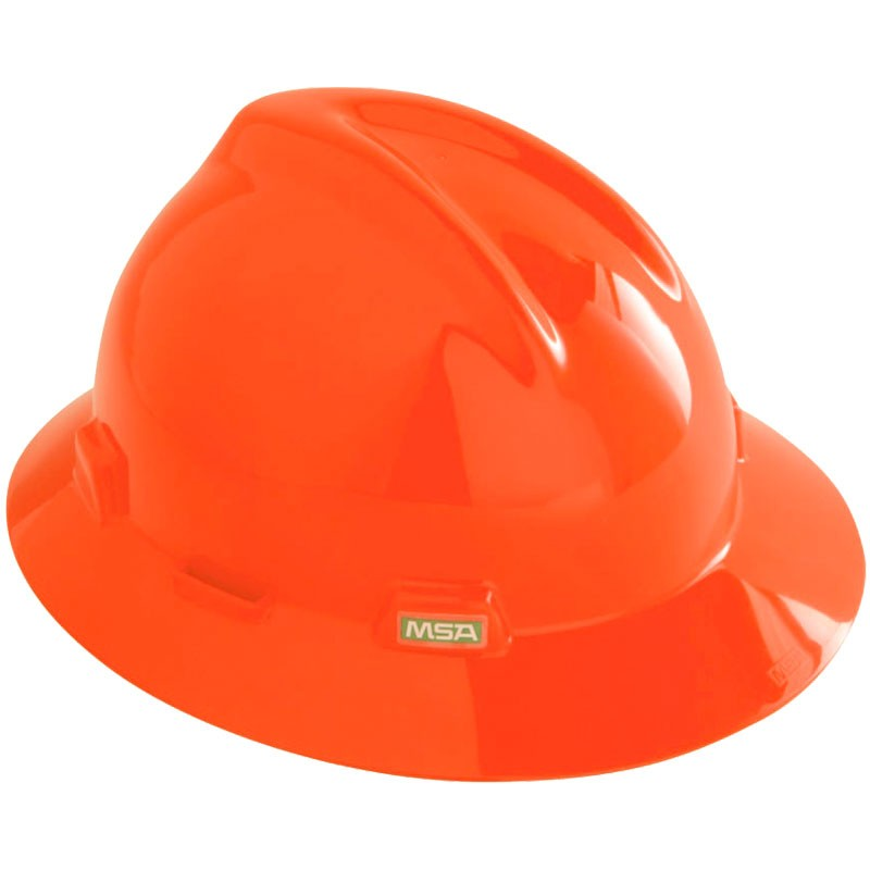 MSA V-Guard, Full Brim Orange Hard Hat W/ Fas-Trac Suspension
