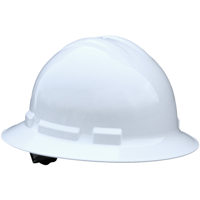 Full Brim Hard Hat, 4-Pt Wheel Ratchet Suspension, White