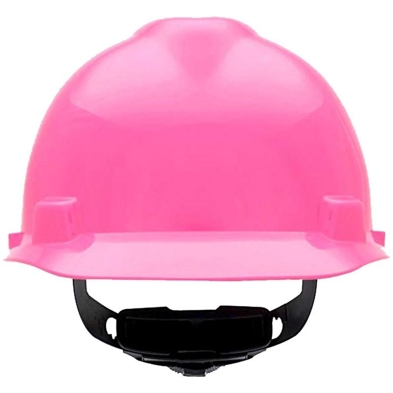 MSA V-Guard, Cap Style Brim Hot Pink Hard Hat W/ Fas-Trac Suspension