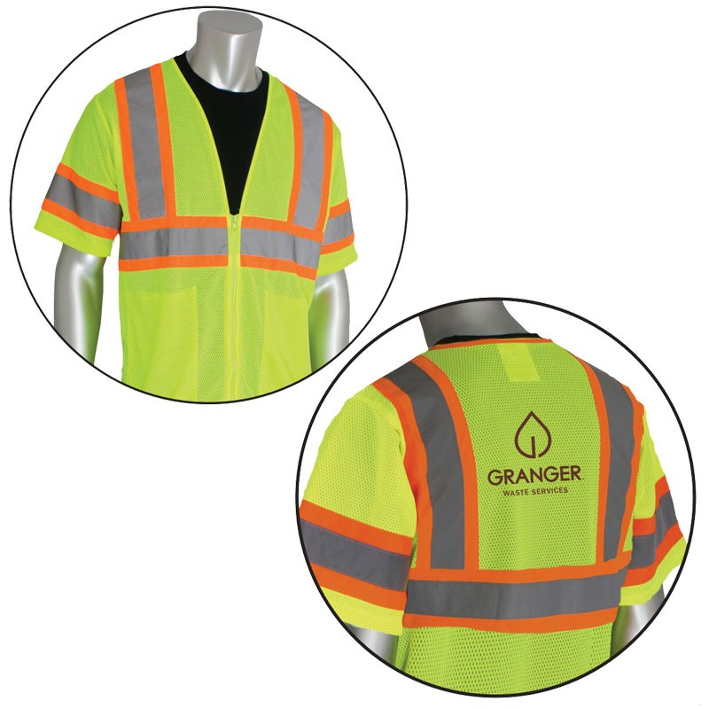 Class 3 Safety Vest, Hi-Vis Yellow, Mesh, Two-Tone Striping, Zipper Closure, 2 Internal Pockets, Granger Waste Logo Printed Back Center, 2-XL