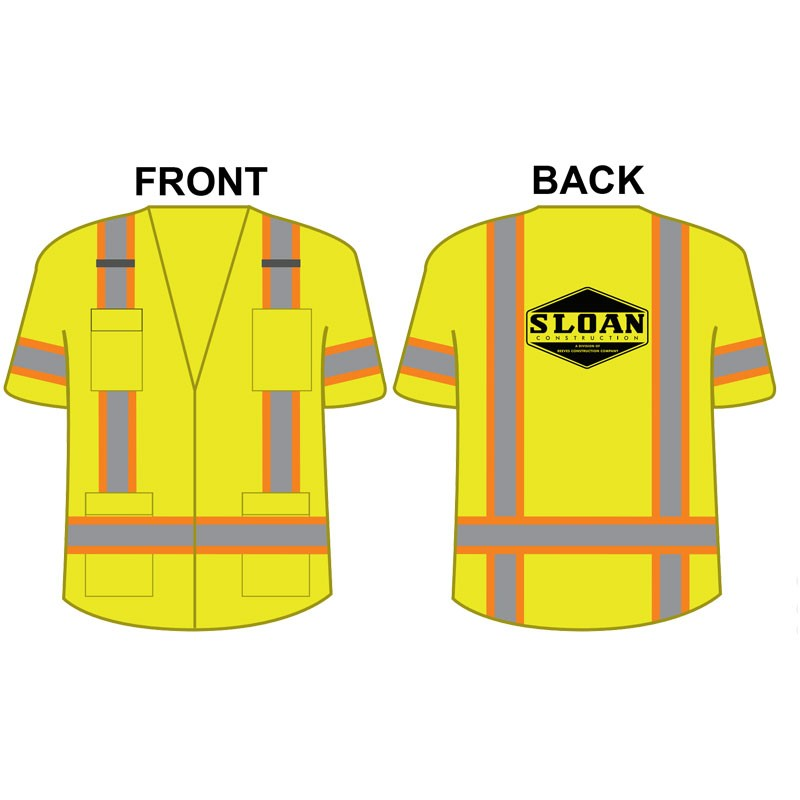 2XL CLS 3 SURVEYORS VEST W/ ZIPPER CLOSURE SOLID FRONT, MESH BACK  W/ SLOAN CONSTRUCTION (1C - 1L)