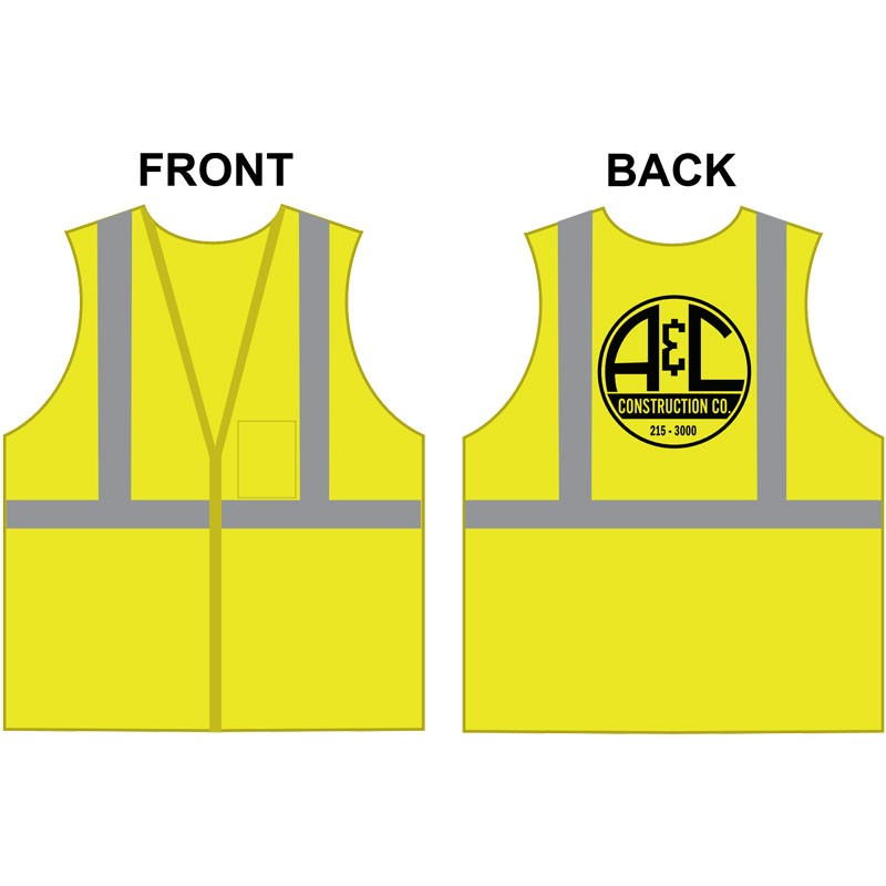 SM CLS 2 SAFETY VEST -LIME GREEN MESH W/ A&C CONSTRUCTION LOGO (1L - 1C)