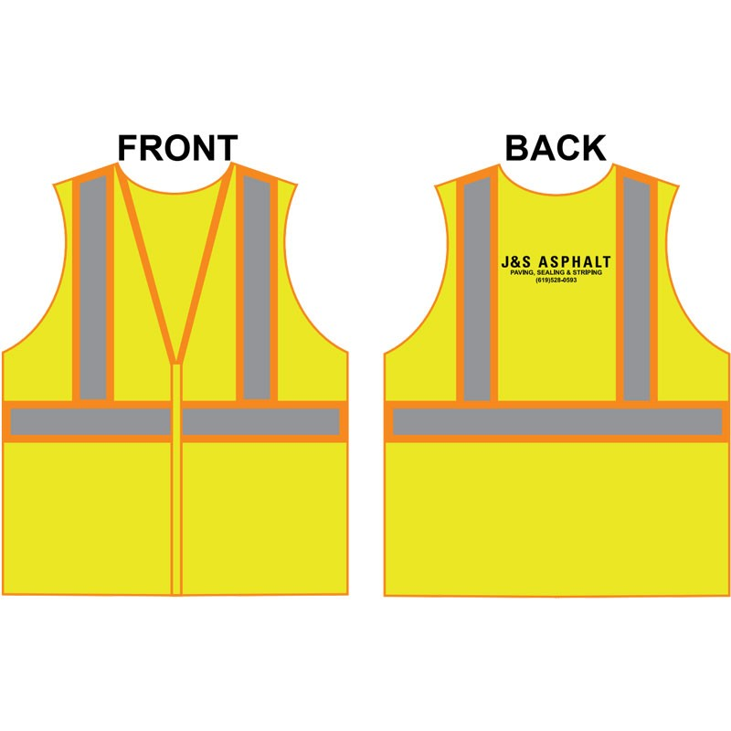 3-XL CLASS 2 ECONOMY TWO TONE MESH VEST W/ ZIPPER CLOSURE  W/ J & S ASPHALT LOGO (1C - 1L)