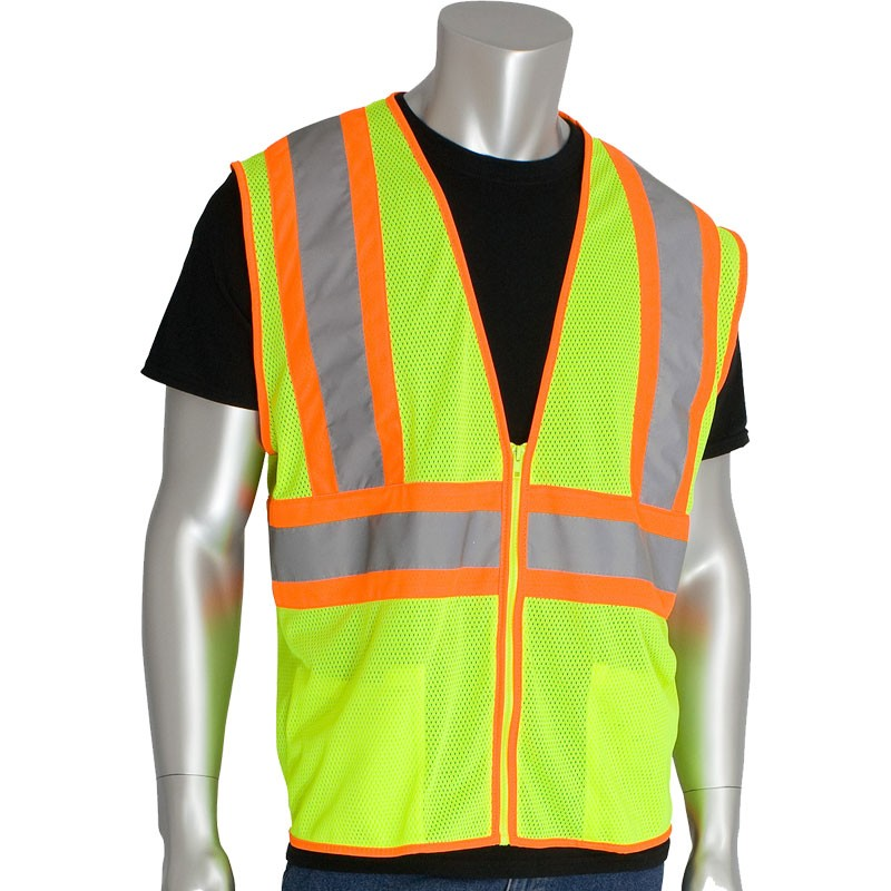 Class 2 Safety Vest, Hi-Vis Yellow Mesh, Two-Tone Striping, Zipper Closure, 2 Pockets, Small