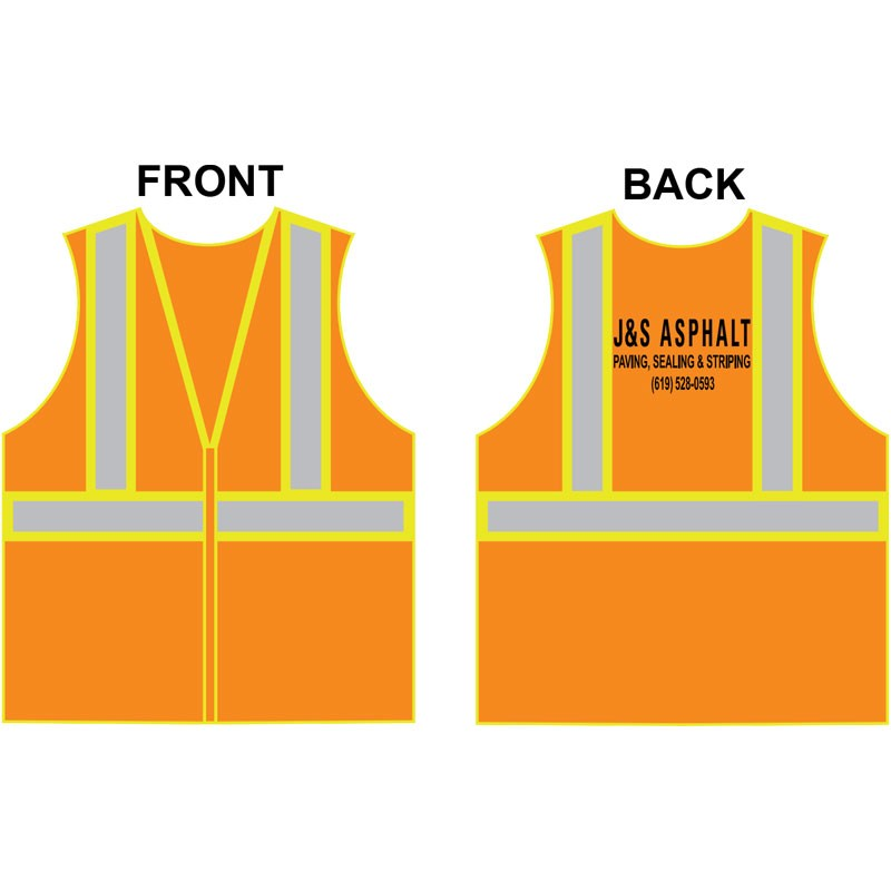 SM CLS 2 SAFETY VEST - HI-VIS ORANGE MESH W/ TWO TONE STRIPE ZIPPER CLOSURE  W/ J & S ASPHALT LOGO (1C - 1L)