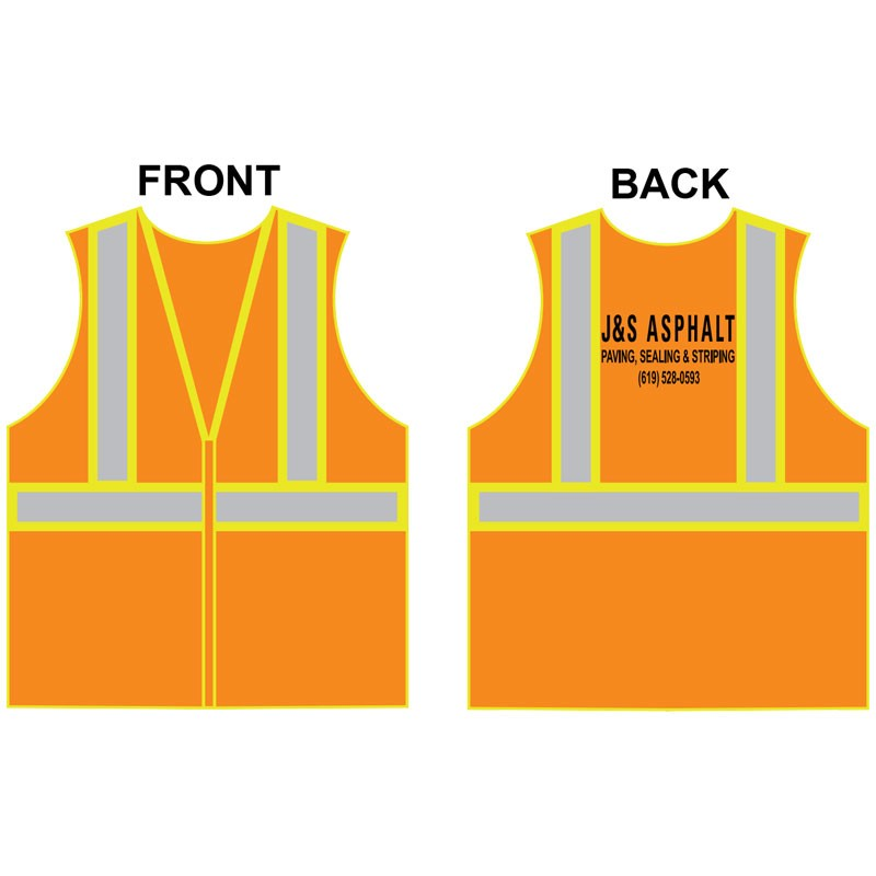 4-XL CLS 2 SAFETY VEST - HI-VIS ORANGE MESH W/ TWO TONE STRIPE ZIPPER CLOSURE  W/ J & S ASPHALT LOGO (1C - 1L)