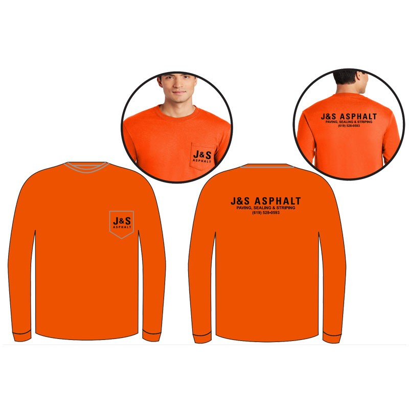 MED COTTON L/S T-SHIRT W/POCKET - ORANGE W/ CHEST POCKET  W/ J & S ASPHALT LOGO (1C - 2L)