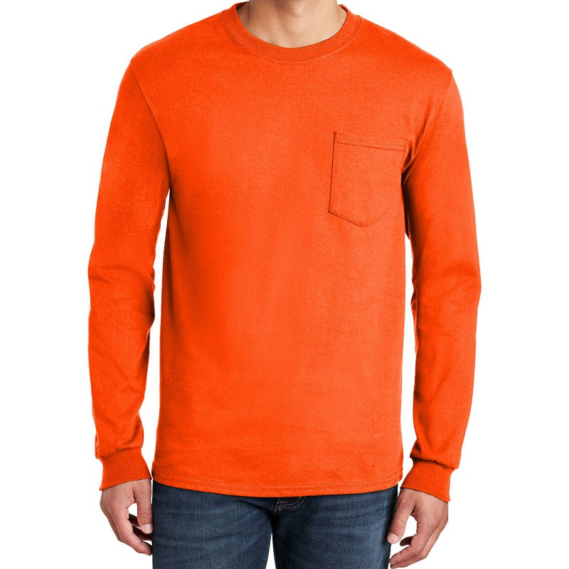 XL COTTON L/S T-SHIRT W/POCKET - ORANGE